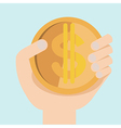 hand with dollar money flat design vector image