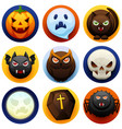happy halloween icon set vector image