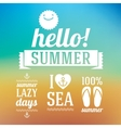 Hello summer icons set with sun and sea on blue vector image vector image