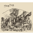Hong Kong big city architecture hand drawn sketch vector image vector image
