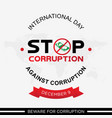 letter emblem stop corruption for international vector image