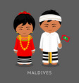 maldives in national dress with a flag vector image vector image