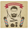 male face with barbershop tools vintage background vector image