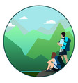 man and woman walking on a mountain trail and vector image vector image