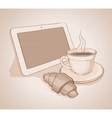 morning with coffee and tablet canvas vector image