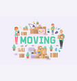 moving family woman man kids character of vector image vector image