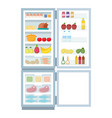 open refrigerator and freezer full food vector image vector image