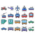 outlined pixel icons set some transport vector image vector image