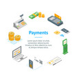 payment methods banner card circle isometric view vector image vector image