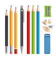 pencils set stationery tools sharpen colored vector image