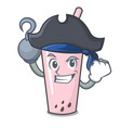 pirate raspberry bubble tea character cartoon vector image vector image