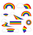 rainbow paper set with shadow on white background vector image