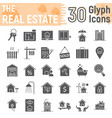 real estate glyph icon set home signs collection vector image vector image