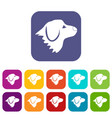 retriever dog icons set vector image vector image