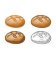 rye bread color hand drawn realistic vector image