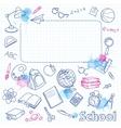 school doodle on blots checkered page vector image vector image