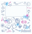 School doodle on the blots checkered page with vector image vector image