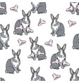 seamless pattern with cute grey bunny vector image