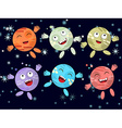 Set of funny cartoon planet on a dark background vector image