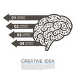 silhouette brain with icons vector image vector image