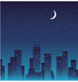silhouette city and night with stars moon vector image