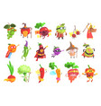 silly fantastic fruit and vegetable characters set vector image vector image