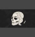 skull girl poster vintage skull woman vector image