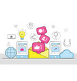 smartphone website and global social media vector image