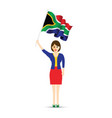 south africa flag waving woman vector image vector image