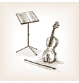 Violin bow music stand hand drawn sketch vector image
