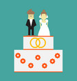 wedding cake with rings and toppers bride and vector image vector image