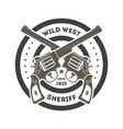wild west sheriff vintage isolated label vector image