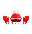 winter warm red hat white pom-pom knitted gloves vector image vector image