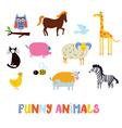Funny animals set - simple design vector image