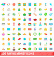 100 paying money icons set cartoon style vector image vector image