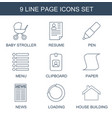 9 page icons vector image vector image