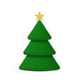 a knitted christmas tree with golden star vector image
