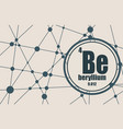 beryllium chemical element vector image vector image