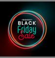 black friday sale glowing neon background design vector image vector image