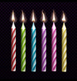 burning candles for birthday cake set isolated vector image