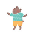 Cartoon bear character in striped t-shirt and