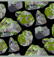 collection rocks and stones covered with green vector image
