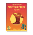 cowboy invitation template for wild west party vector image vector image