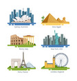 different city panoramas with famous landmarks vector image vector image