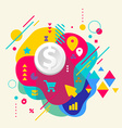 Dollar on abstract colorful spotted background vector image vector image