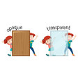 english opposite word opaque and transparent vector image vector image