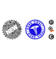 epidemic mosaic new sticker icon with clinic vector image vector image