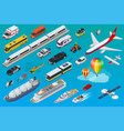 flat isometric city transport icon set vector image vector image