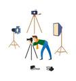flat man and photo equipment set vector image vector image