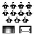 football team black symbols vector image vector image